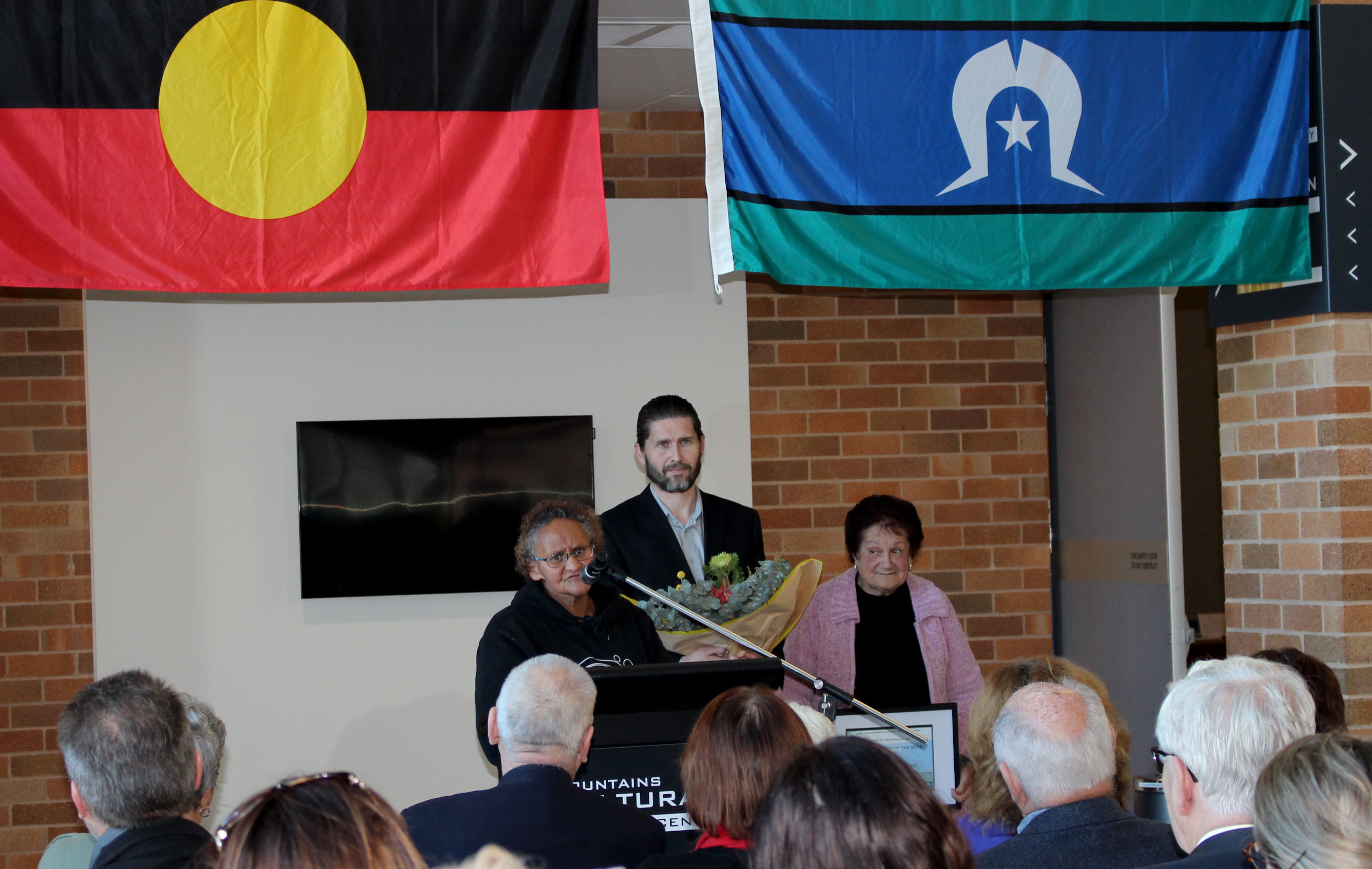 Aunty Pat Field, Council's Aboriginal Community Development Officer Brad Moore and Gundungurra Elder Aunty Merle