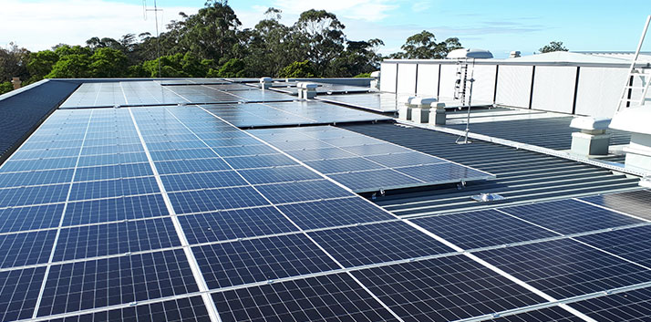 Solar Panels on the roof of the Blue Mountains Theatre and Community Hub in Springwood
