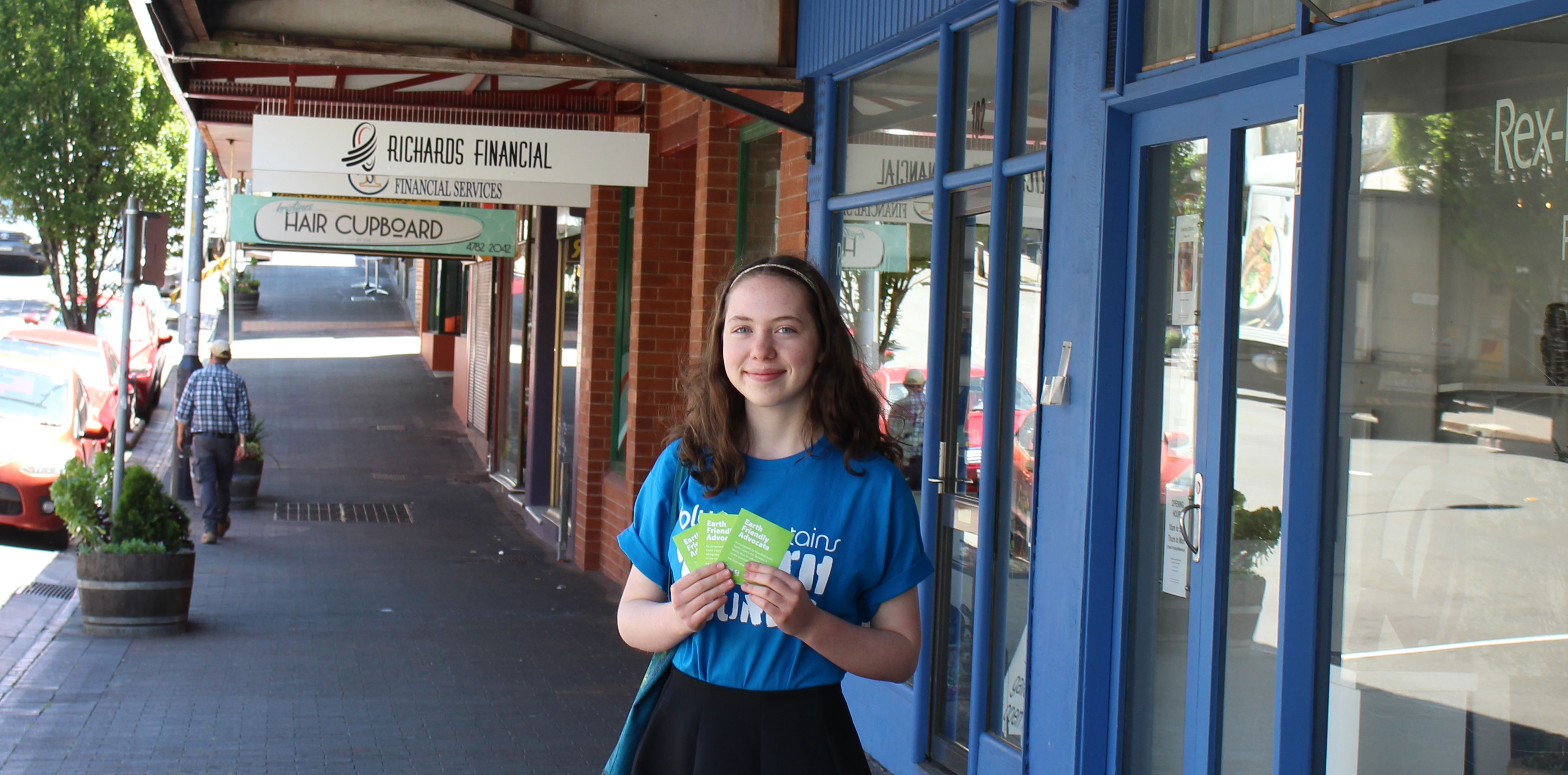 A Blue Mountains Youth Council member with the Earth Friendly Advocate sticker